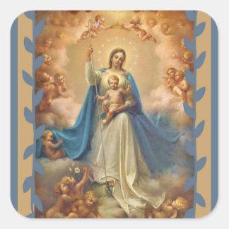 Adesivo Quadrado Rainha da criança do céu com Jesus & anjos