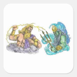 Adesivo Quadrado Raio de Zeus contra o tatuagem de Poseidon Trident