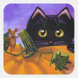 Adesivo Quadrado Rato Creationarts do gato preto do Dia das Bruxas