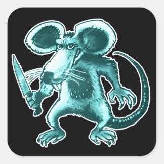 Adesivo Quadrado rato irritado com desenhos animados engraçados da