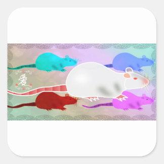 Adesivo Quadrado Ratos Trippy do animal de estimação do arco-íris