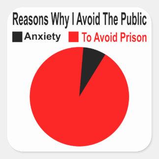 Adesivo Quadrado Razões pelas quais eu evito o público para evitar