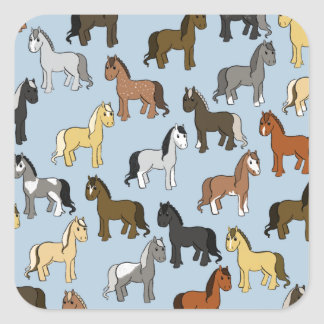 Adesivo Quadrado Rebanho bonito dos cavalos