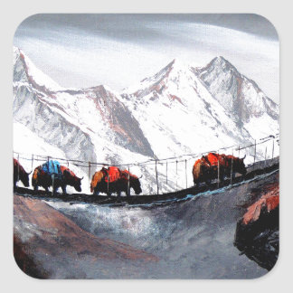 Adesivo Quadrado Rebanho de iaques Himalaya da montanha