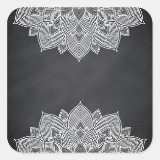 Adesivo Quadrado Redemoinho da mandala da flor de Lotus do quadro
