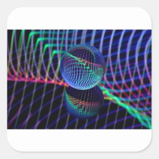 Adesivo Quadrado Redemoinhos e linhas na bola de vidro