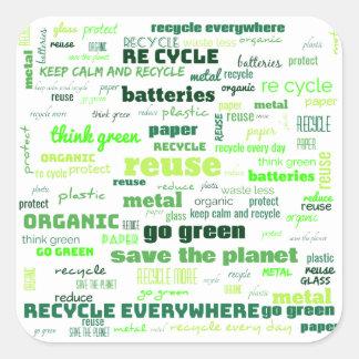 Adesivo Quadrado Reduza, reúso, recicl a nuvem da palavra