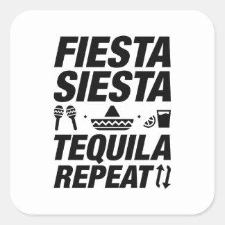 Adesivo Quadrado Repetição do Tequila do Siesta da festa