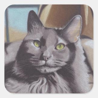 Adesivo Quadrado Retrato cinzento do animal de estimação do gato
