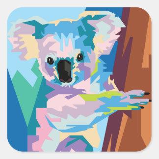 Adesivo Quadrado Retrato colorido do Koala do pop art