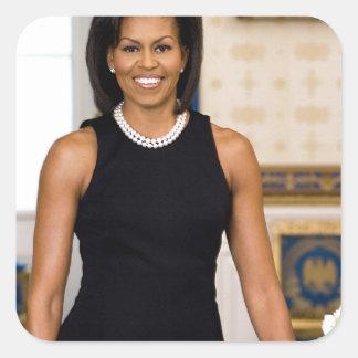 Adesivo Quadrado Retrato oficial da primeira senhora Michelle Obama