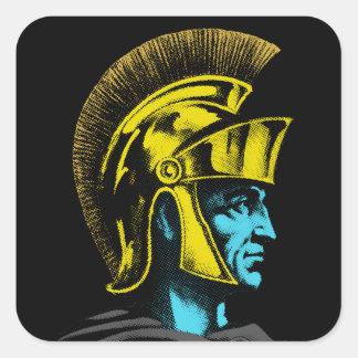 Adesivo Quadrado Retrato romano do pop art do gladiador
