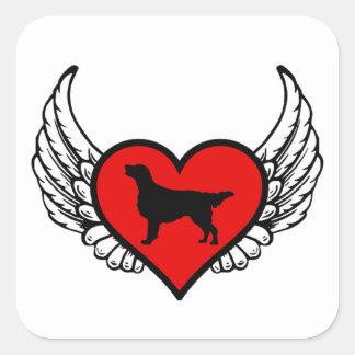 Adesivo Quadrado Retriever Liso-Revestido cães voados do amor do