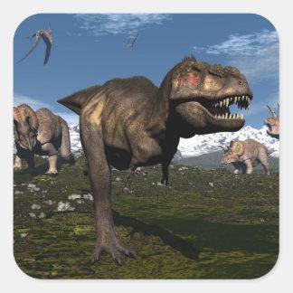 Adesivo Quadrado Rex do tiranossauro atacado pelo dinossauro do