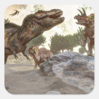 Adesivo Quadrado Rex do tiranossauro que escapa do ataque do