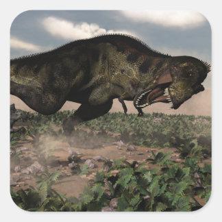 Adesivo Quadrado Rex do tiranossauro que ruje em um triceratops