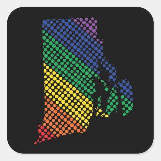 Adesivo Quadrado Rhode - estado do arco-íris da ilha