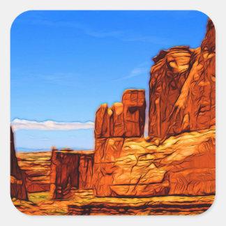 Adesivo Quadrado Rochas do parque nacional dos arcos
