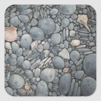 Adesivo Quadrado Rochas dos seixos da praia das pedras