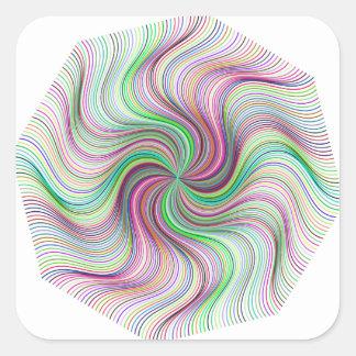 Adesivo Quadrado Roda colorida do redemoinho de prisma do arco-íris
