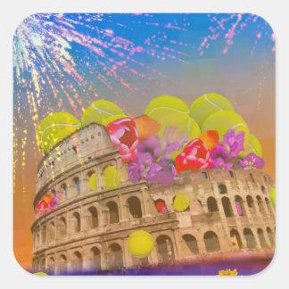 Adesivo Quadrado Roma comemora a estação com bolas de tênis, flores
