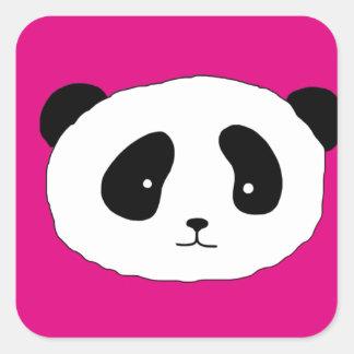 Adesivo Quadrado Rosa bonito do teste padrão da cara da panda
