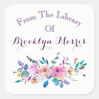 Adesivo Quadrado Rosa da aguarela e Bookplate floral da cerceta