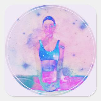 Adesivo Quadrado Rosa da série da menina da ioga de Dharma