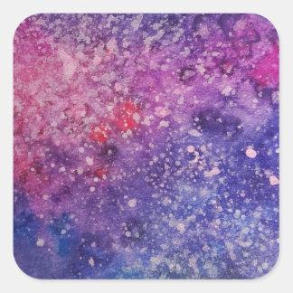 Adesivo Quadrado Rosa de pintura e azul da galáxia