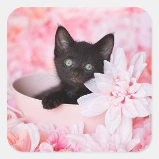Adesivo Quadrado Rosa do gatinho do laço floral