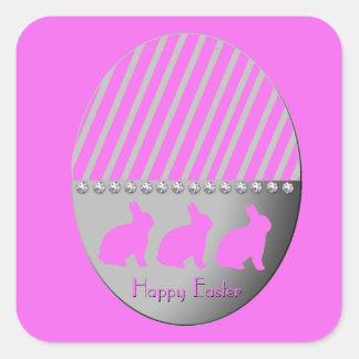 Adesivo Quadrado Rosa dos coelhos do ovo da páscoa