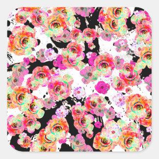 Adesivo Quadrado Rosa e primavera do coral floral em preto e branco