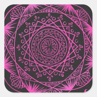 Adesivo Quadrado Rosa quente, despertando o teste padrão do zen,