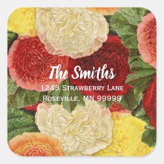 Adesivo Quadrado Rosas amarelos cor-de-rosa brancos vermelhos do