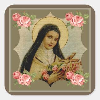 Adesivo Quadrado Rosas cor-de-rosa do St. Therese
