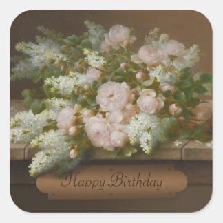 Adesivo Quadrado Rosas do feliz aniversario e Lilacs CC0884 Longpré