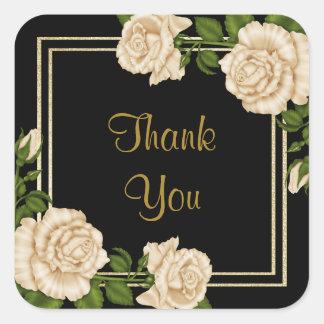 Adesivo Quadrado Rosas do marfim & obrigado elegantes do