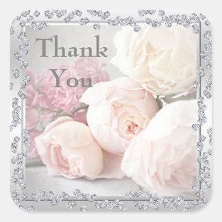Adesivo Quadrado Rosas & obrigado românticos dos diamantes você