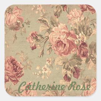 Adesivo Quadrado Rosas verdes cor-de-rosa e prudentes empoeirados