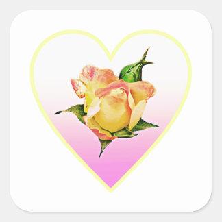 Adesivo Quadrado Rosebud do pêssego no coração