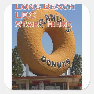 Adesivo Quadrado Rosquinhas Long Beach Califórnia LBC de Ransdys