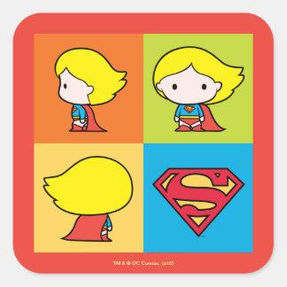 Adesivo Quadrado Rotação do caráter de Chibi Supergirl