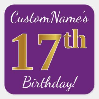 Adesivo Quadrado Roxo, aniversário do ouro do falso 17o + Nome