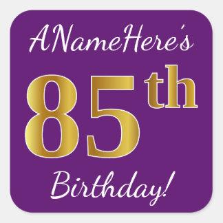Adesivo Quadrado Roxo, aniversário do ouro do falso 85th + Nome