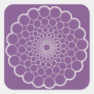 Adesivo Quadrado Roxo - mandala branca do espectro