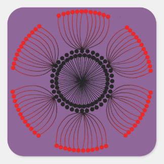 Adesivo Quadrado Roxo - mandala vermelha do Poppyseed