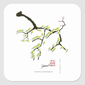 Adesivo Quadrado sakura com pássaros verdes, fernandes tony