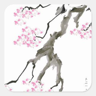 Adesivo Quadrado sakura com peixe dourado cor-de-rosa, fernandes
