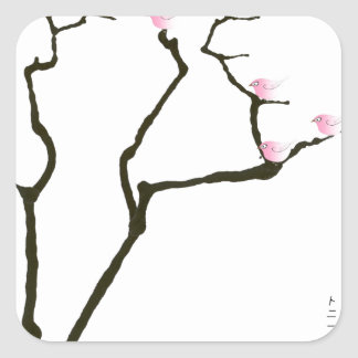 Adesivo Quadrado sakura e 7 pássaros cor-de-rosa 1, fernandes tony