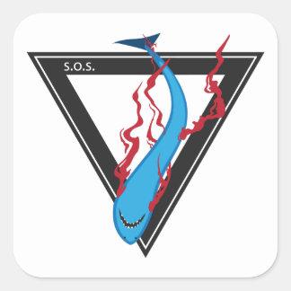 Adesivo Quadrado salvar nosso triângulo dos tubarões SOS